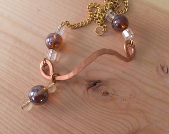 Copper Crystal Glass Bead Choker Charm Necklace