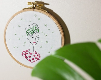 Hand embroidery, interior decoration,illustration, woman, headband