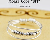 "Morse Code ""BFF"" Best Friends Ring- Choice of Color Beads and Silver, Rose, or Yellow Gold Filled Wire- Any Size-4,5,6,7,8,9,10,11,12,13,14"
