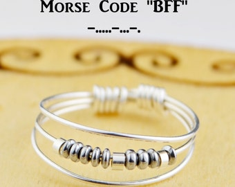 """Morse Code """"BFF"""" Best Friends Ring- Choice of Color Beads and Silver, Rose, or Yellow Gold Filled Wire-Size 4 5 6 7 8 9 10 11 12 13 14"""