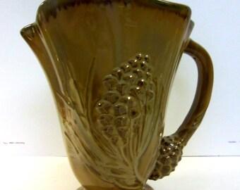 Vintage Brown Pinecone Pitcher