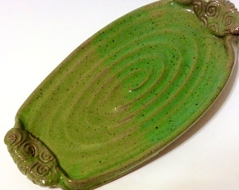 Pottery Serving Tray, Ceramic Cheese Tray, Large Butter Dish, Sushi Dish, Plate, Green