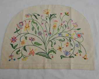 1940s Cotton Tea Cosy Cover with Floral Embroidery