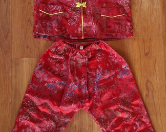 Vintage Asian / Chinese childrens red pajamas