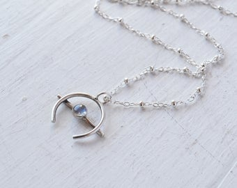 Mini Moonstone Orb Necklace, Crescent Moon Chain Choker, Sterling Silver Arc Necklace, Stone Pendant Choker, Delicate Necklace, Charm Choker