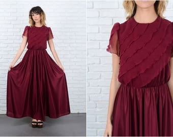 Vintage 70s Cranberry Tiered Dress Maxi Sheer Boho Hippie Small S 92261