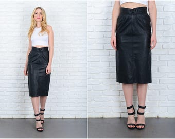 Vintage 80s Black Leather Skirt Moto high Waist Small Retro S 9418