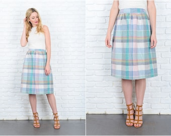 Vintage 70s Plaid Print Skirt Pink Green A Line Wool Wrap S M 9435