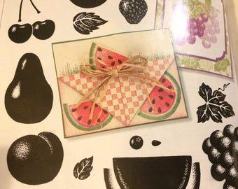 Stampin Up Definitely Decorative FABULOUS FRUITS  1997 set of 15 wood mounted stamps  cherry peach strawberry grape watermelon lemon Retired