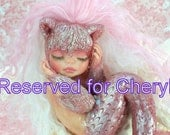 Reserved for Cheryl..OOAK art doll fantasy mermaid baby polymer clay sculpture fairy handmade collectable kitty cat IADR       free shipping