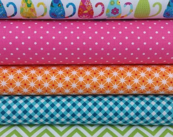 Calico Cats on White Bundle from Michael Miller (5 Fabrics Total)