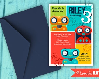 Robot Theme Birthday invitation file - Bright, Colorful boys party theme - Robots and Gears - With or Without photo - personalized for you!