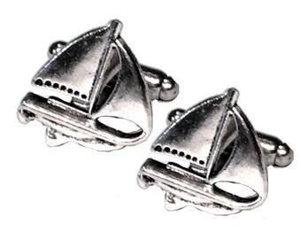 SALE Men's Silver Sailboat Cufflinks, Mans Handcrafted Sail Boat Cuff Links- Groom Wedding Guys Prom Mans Ocean Sea Gift