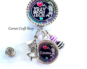 XRAY Tech  Personalized Name Charm Retractable Badge Reel Holder ID Reel w/ Charms , Beads Id tag, clip, Radiology RAD