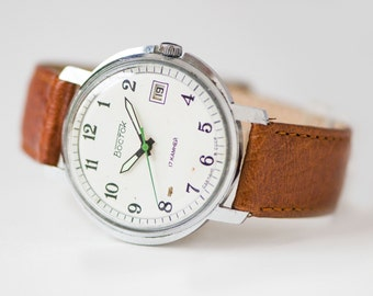 Classical men's wristwatch WOSTOK\East, minimalist men's watch, mechanical watch 70s, white face watch gift him, premium leather strap new