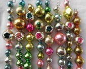 8 Vintage Pastel Icicle Christmas Ornaments Mercury Glass Garland Beads