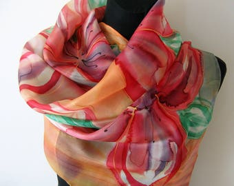 Orange floral scarf. Hand painted floral scarf. Silk scarf. Orange, red, green painting.