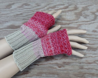Knitted cotton fingerless gloves, knit grey red arm warmers, knitting colorful gray red hand warmers, women gloves, accessories