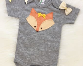 Baby girl fox onesie/bodysuit, hand sewn apllique, cute fox- personalize with your baby's name!