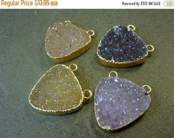 10% Sale Gemshow Druzy Druzzy Drusy Triangle Pendant Charm with 24k Gold Layered Edge and Double ...
