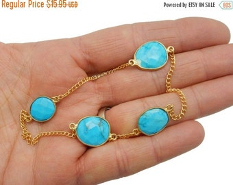 35% off Wholesale Turquoise Magnesite Station Connector Gold Layered Chain ONE foot - STUNNING Chain - (G-369)