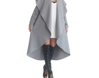 Wool cashmere coat/ Gray wool coat/ Plus size wool coat/ Long wool coat/ Winter coat/ Wrap cardigan/ Plus size coat/ 3xl wool coat ANGELA