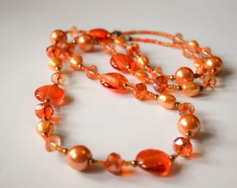 Orange Peach Flapper Bead Necklace