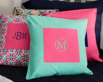 Monogrammed Pillow Cover - Mint & Hot Pink - Monogrammed Pillow Cover - Your choice of font and thread color