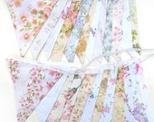 Vintage Bunting . Pretty Spring Pastel & Ivory / White Multi-Colour Floral Flags x 2 . Engagement * Wedding * Garden Party