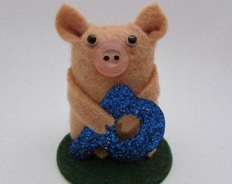 Arnold the Alphabet Pig - Initial Pig - Pig Ornament