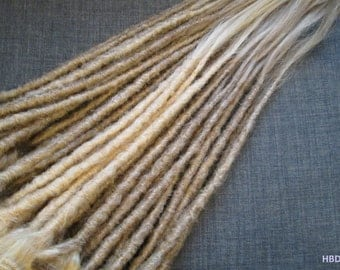 "CUSTOM Human hair dreadlock extenders extensions, 16"" hair, 20 pcs"