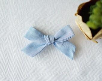 Medium Size Linen Schoolgirl Bow or Nylon Headband Hand Tied Bow -Blue Chambray-