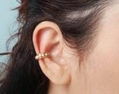 Birthday Gift for Her - Hoop Ear Cuff - Fake Conch Ring - Beaded Ear Cuff - No Piercing Ear Cuff - Fake Piercing Jewelry