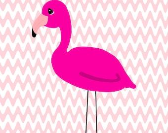 Pink Flamingo Tropical Flamingos Cartoon Wall Decor Cute Bathroom Art Print Valentines Day Party Decorations Room Bedroom Printable  8X10