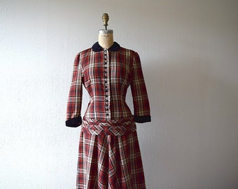 1940s 1950s dress . vintage plaid wool dress