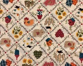 Vintage Fabric Traditions Friendship Fabric - Chickens - Pigs - Hearts - Birdhouses - OOP