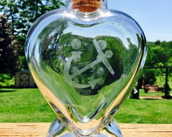 Heart Shaped Etched Glass Bottle