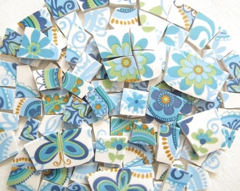 MOSAIC China Tiles - Butterflies and Flowers - 100 Tiles