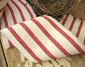 Vintage Farmhouse Red and Ivory Hand Frayed Ticking Ribbon Trim