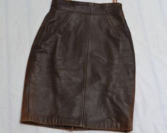Authentic Vintage Michael Hoban North Beach Leather Dark Brown Leather skirt small xs 90s