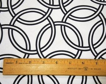 Fabric Home Dec Ring Circle Swirl Cotton Sateen Fabric in Navy Blue White  Home Decor Yard, Half Yard
