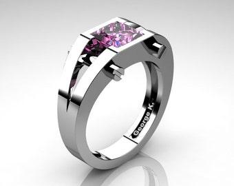 Modern 14K White Gold 1.25 Ct Princess Light Pink Sapphire Ring R394-14KWGLPS