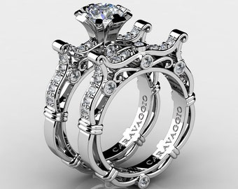 Caravaggio Venetian 14K White Gold 1.0 Ct White Sapphire White Diamond Engagement Ring Wedding Band Set R638S-14KWGDWS