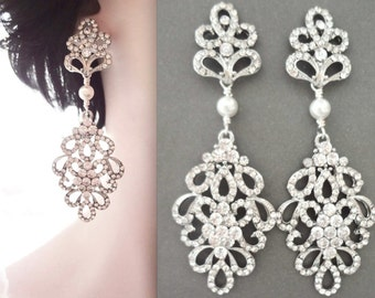 Pearl earrings, Crystal statement earrings, Pearl chandelier earrings, Brides earrings,Crystal wedding earrings,Swarovski pearl earrings,MEG