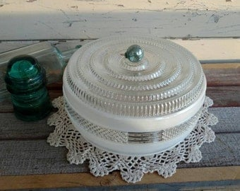 Vintage Frosted Glass Ceiling Shade - Fixture Replacement Globe, Antique Fixture, Romantic Lighting, French Lighting, Cottage Chic Globe