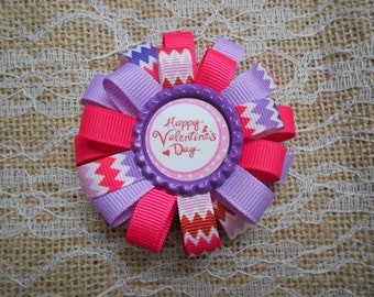 Valentines loopy flower hair bow