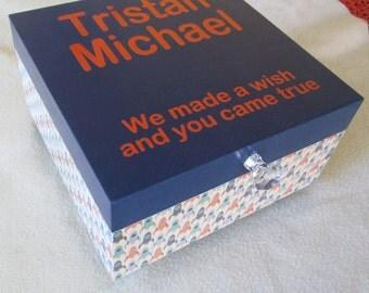 Memory Box - Keepsake Box - Large Keepsake Box - Wood Keepsake Box -Childs Keepsake Box - Spaceship - Orange, Grey, Blue - Personalized-Gift