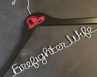 Firefighter Wife Hanger, Wedding Hanger, Bridal Hanger, Bride Hanger, Hanger for Wedding Dress, Firefighter Wedding, Personalized Hanger