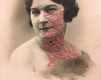 """Vintage french portrait Photo brodée """"sidonie"""""""