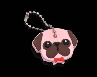 Pug dog key cap cover and key chain